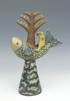 ceramic figure fish bird tree by Sara Swink
