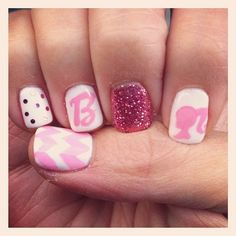 I like the idea of something different on every finger, not so much the Barbie theme.