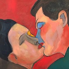Painting by Sandro Chia (b. 1946), 2009, Almost a Kiss, Oil on canvas. #Kiss