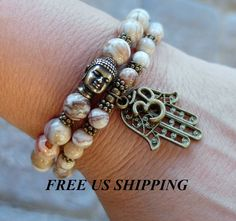Protection Crazy lace Agate Buddha bracelet by LifeForceEnergy, $34.00
