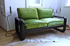 grünes Sofa, grüne Couch, Designklassiker Sofa, 70er Jahre Sofa, Rosenthal-Sofa, Sofa mit , Redesign Sofa, Vintage Sofa neu gestaltet