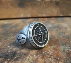 Solid .925 oxydized sterling silver Compass Naval by lorgjewels, $250.00