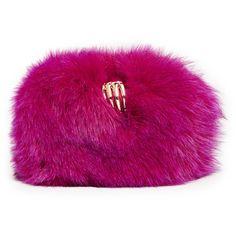 Benedetta Bruzziches Fur Carmen Clutch (3,220 PEN) ❤ liked on Polyvore featuring bags, handbags, clutches, cyclamen, shoulder strap handbags, fur purses, fox fur purse, purple handbags and fur handbags