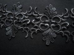 """4.75"""" Wide Black Venice Lace Trim Venitian Black Lace Brdal Wedding Formal Lace S119"""