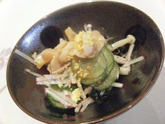 Sea Snail and Geoduck Clam with Enoki, Cucumber, Radish, and Miso Dressing