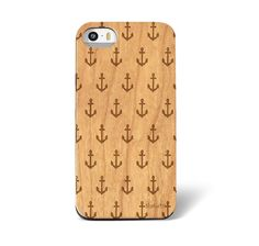 Sketched Sailor's Fashion Anchor Galore Pattern Laser Engraved on Genuine Wood Cell phone Case for iPhone 5s and 6 via Shake n' Doodle Designs®. Click on the image to see more!
