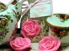 Set of 10 Shabby Chic Rose Soap Favors