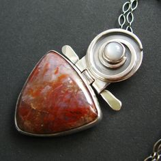 Artisan Stone Necklace  Sterling Silver Moonstone by Mocahete, $218.00