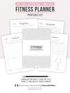 FITNESS PLANNER | Instant Download | Monthly and annual follow-up, food diary, assessment, measurements tracker, sport records...