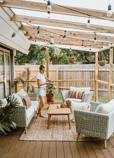Natural back deck | let's stay home today | #outdoor #ad #shopthelook #deck #rattan #wicker #stringlights #SummerStyle #BeachVacation