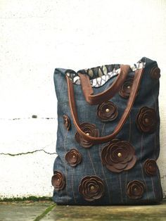 Leather applique tote bag.