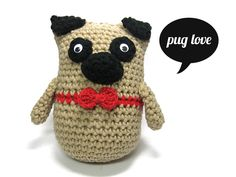 crochet pug - design by lemonata