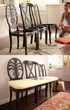New Furniture Makeover Bench Old Chairs Ideas Ikea Chair, Chair Bench, Diy Chair, Chair Cushions, Chair Upholstery, Chair Pads, Swivel Chair, Old Wooden Chairs, Old Chairs