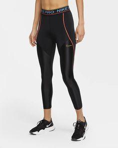 Nike Pro Women's 7/8 Tights. Nike.com Nike Tights, Shiny Fabric, Nike Pro Women, Athleisure Wear, Orange Fashion, Black Tights, Nike Pros, Nike Dri Fit, Leggings Are Not Pants