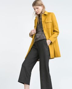 CULOTTES - Lazy Mimosa - WOMAN | ZARA Ukraine // Mustard pallete - style - winter - coat - casual wear