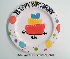 Hand Painted Ceramic Happy Birthday Plate 8 by BrushfireStudio $16.00  sc 1 st  Pinterest & Ready to Ship - 9