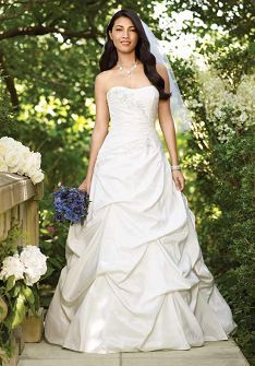 A-Line Strapless Floor Length Attached Taffeta Beading/ Embroidery Wedding Dress Style WD60395