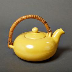 vintage coffee pot mid century retro vintage yellow stoneware