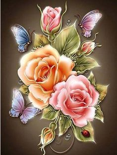Diamond Painting Diy 5D Butterflys And Roses Cross Stitch Craft Home Decor