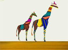 Baby and Mother Giraffe Fabric Wall Decals by Popitay on Etsy, $68.00