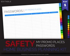 Passwords Keeper Log Promo Places Passwords || Rainbow Editable Printable Planner DIY Pastel Binder Organizer || Household PDF Printables