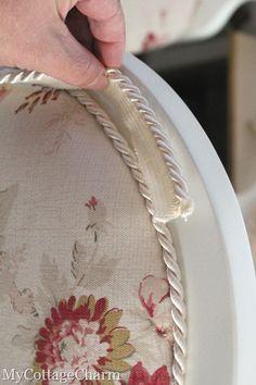 DIY reupholstering back of chair #ReupholsterChair