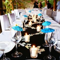 Here is a great example of a tropical theme.  Your theme comes across in big way with little touches!
