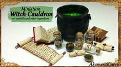 Miniature Cauldron & potion ingredients - Polymer Clay Tutorial - Published on Oct 16, 2015 Hi guys! Today we're making this witch cauldron and jars of potion ingredients ^^ You can make what ever ingredients you want in the jars; I went for slimy eyeballs in one, crushed bones (Chalk pastel), Herbs (dried moss), and poison berries (nail art beeds) ^^ The little glass jars came from ebay – the held nail art glitter :)
