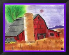 Dry Summer Barn: Two drawings of same subject changed through the marvels of digitized computer art program. First one color pencils and chalk and second pen and ink.