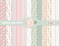 12 Shabby Chic Rose Light Pink and Blue. Digital Scrapbook Papers 8x11 inch for invites, letters, card making.