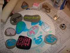 My own crafty garden stones.  Inspired by my neighbor's dog. Beach themes, googly eyes, Joe Dirt quotes, sailboats, stamps.  Such an easy craft, for kids or adults. All you need is rocks and paint!