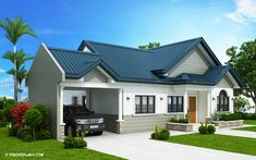 3 Room House Plans Beautiful the Blue House Design with 3 Bedrooms Pinoy House Plans 3 Room House Plan, Three Bedroom House Plan, My House Plans, Small House Plans, Two Story House Design, Small House Design, Modern House Design, Modern Bungalow House, Bungalow House Plans