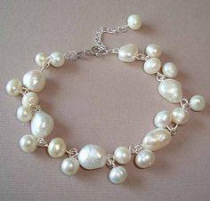 White Fresh Water Pearls Silver Bracelet