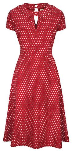 NEW CLASSY RED POLKA DOT VINTAGE WW2 LANDGIRL 1940s 1950s PINUP RETRO TEA DRESS