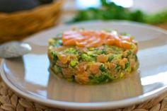 Tartar de salmón y aguacate / Salmon and avocado tartar. Recetas Hojiblanca #Saludables https://www.facebook.com/Hojiblanca
