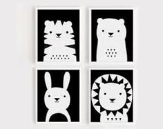 Resultado de imagen para black and white nursery art