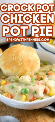 Crock Pot Chicken Pot Pie {With Biscuits!} – Spend With Pennies Crock Pot Chicken Pot Pie {With Biscuits!} – Spend With Pennies,RECIPES Soups, Stews & Chili! Crock pot chicken pot pie is an easy. Easy Crockpot Chicken, Crockpot Dishes, Crock Pot Slow Cooker, Crock Pot Cooking, Slow Cooker Recipes, Chicken Pot Pie Soup Recipe Slow Cooker, Chicken Pot Pie Recipe Crescent Rolls, Crockpot Pie, Easy Chicken Pot Pie Soup