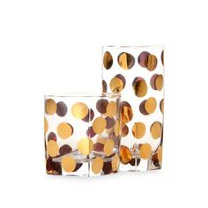 This is glass -- but what about in Melamine? Gold polka dot glasses Bed Bath & Beyond Cru Intl by Darbie Angell Monaco Gold Tumblers This striking drinkware is embellished with hand-applied gold dots that create a definite party pattern!