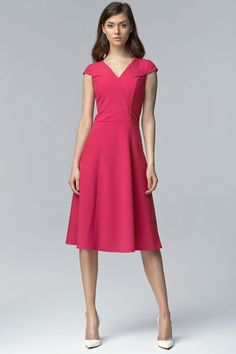 Fuchsia V Neck Cross Bodice Seam Dress with Cap Sleeves
