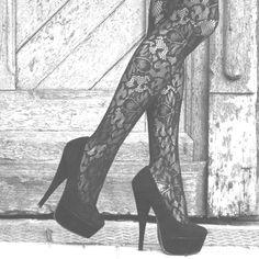 Love lace tights & black heels.