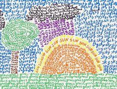Word Pointillism - - looks fun for older elementary, too! - Word Pointillism – – looks fun for older elementary, too! School Art Projects, Art School, Word Art, Ecole Art, Art Classroom, Art Club, Art Plastique, Art Activities, Teaching Art
