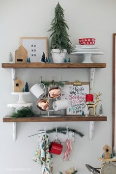 These modern farmhouse shelves all decked out for Christmas are too cute! Love the mug rack and cute cake stands! Modern Christmas, Christmas Mugs, Christmas Home, Vintage Christmas, Christmas Holidays, Merry Christmas, Rose Gold Christmas Decorations, Holiday Decor, Dining Room Shelves