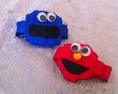 Elmo and Cookie Monster inspired Ribbon Sculpture hair clips - Each Sold Separately