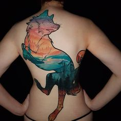 Neo-traditional scenery fox tattoo by Rocio Todisco, done in Johannesburg at the Black Lodge Fox Tattoo, Neo Traditional, Animal Tattoos, Body Tattoos, Watercolor Tattoo, Scenery, Cover Up, It Is Finished, Photo And Video