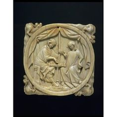 Mirror case - Knight & Lady playing chess. Ivory, 14th-century Paris. Now in the V & A, London. The game of chess represented both love and war and appears in many of medieval romances, including the story of Tristan & Iseult. The 3 finest examples, of which this is one, come from the same Paris atelier, & perhaps the same carver. The 2 others are in Cleveland and the Louvre.