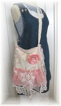 ~~~REVAMP THAT  AVON PURSE~~~with lace and doilies and pearls and flowers, ribbons, crochet pockets, brooches, appliqués, tulle~~~ will look for more examples!!!~~~Shabby pink gypsy lace handbag