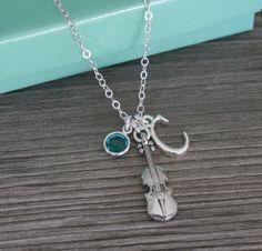Violin Necklace, Violinist Necklace, Gift for Violin Player, Silver Violin Necklace, Letter C December Birthstone Custom Letter Birthstone