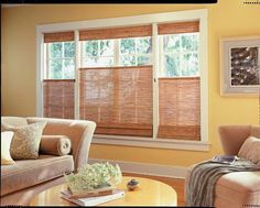 Top down, bottom up woven wood shades. budgetblinds.com