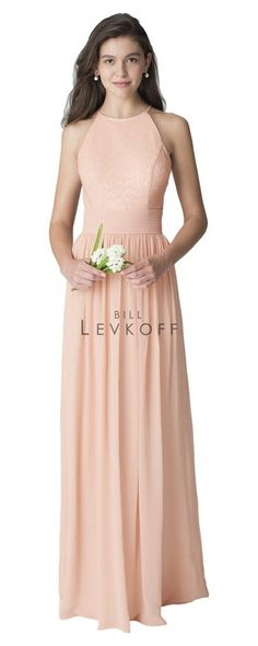 Bill Levkoff Bridesmaid style# 1260. Sequin Net halter top gown with a key hole back. Available at Bridal Collections Spokane, WA
