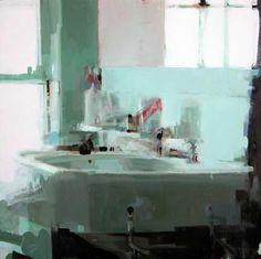 Alex Kanevsky, bathroom 24 x 24, oil on wood
